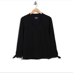 ModCloth V-Ideal Discovery Long Sleeve Tie Blouse